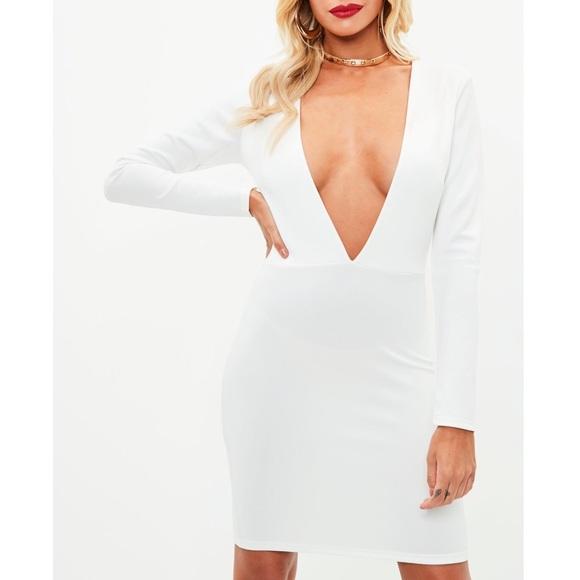 354b86059c458 Missguided Dresses | White Long Sleeve Plunge Dress | Poshmark